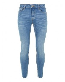 Bright Blue Wash Spray On Jeans afbeelding