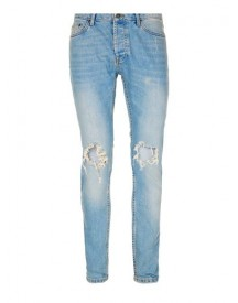 Light Wash Blue Extreme Ripped Stretch Skinny Jeans afbeelding