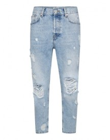 Light Wash Extreme Rip Tapered Jeans afbeelding