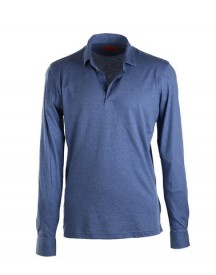 Suitable Stretch Longsleeve Polo Blauw afbeelding