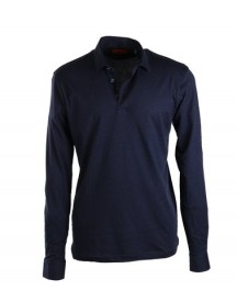 Suitable Stretch Longsleeve Polo Navy afbeelding