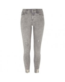 Molly Grijze Acid Wash Ripped Jegging afbeelding