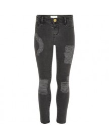 Molly - Zwarte Washed Ripped Jegging Voor Meisjes afbeelding