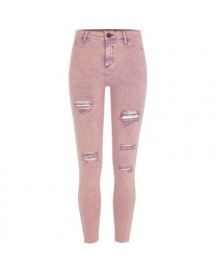 Molly - Roze Acid Wash Ripped Jegging afbeelding