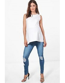 Maternity Ava Over The Bump Distressed Knee Skinny Jeans afbeelding