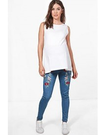 Maternity Layla Floral Embroidered Skinny Jeans afbeelding
