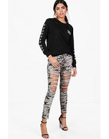 Sally Camo Distressed Skinny Jeans afbeelding