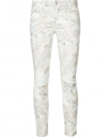 7 For All Mankind - Distressed Floral Jeans - Women - Cotton/spandex/elastane - 30 afbeelding