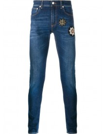 Alexander Mcqueen - Patch Embellished Skinny Jeans - Men - Cotton/spandex/elastane/copper - 52 afbeelding