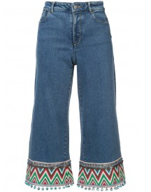Alice+olivia - Embroidered Cropped Jeans - Women - Cotton/polyester/spandex/elastane/lyocell - 24 afbeelding