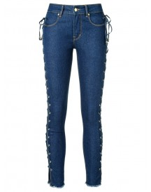 Amapô - Side Lace Up Skinny Jeans - Women - Cotton/polyester - 34 afbeelding