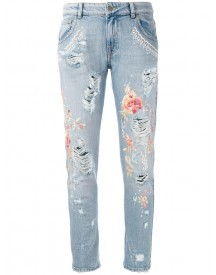 Amen - Floral Embroidery Jeans - Women - Cotton - 40 afbeelding