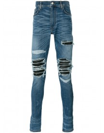 Amiri - Distressed Skinny Jeans - Men - Cotton/leather/lyocell/tencel - 33 afbeelding