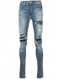 Amiri - Distressed Skinny Jeans With Biker Panel Inserts - Men - Cotton/spandex/elastane - 38 afbeelding