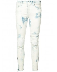Amiri - Distressed Skinny Jeans - Women - Cotton/leather/spandex/elastane - 29 afbeelding