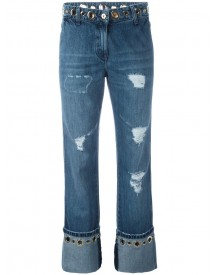 Blumarine - Distressed Hoop Detail Jeans - Women - Cotton/polyester - 40 afbeelding
