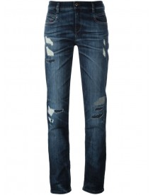 Diesel - Distressed Straight Jeans - Women - Cotton/polyester/spandex/elastane - 26/32 afbeelding