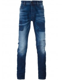 Diesel - Patched Slim-fit Jeans - Men - Cotton/spandex/elastane/lyocell - 34/32 afbeelding