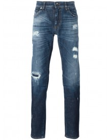 Dolce & Gabbana - Distressed Jeans - Men - Cotton/calf Leather/spandex/elastane/zamak - 46 afbeelding