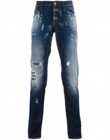 Dolce & Gabbana - Ripped Detail Jeans - Men - Cotton/calf Leather/zamac - 48 afbeelding