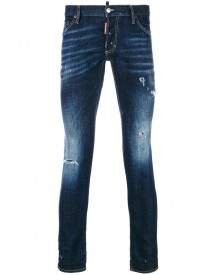 Dsquared2 - Distressed Clement Jeans - Men - Cotton/calf Leather/polyester/spandex/elastane - 52 afbeelding