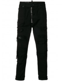 Dsquared2 - Distressed Moto Jeans - Men - Cotton - 54 afbeelding