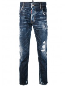Dsquared2 - Distressed Skater Jeans - Men - Cotton/calf Leather/polyester/spandex/elastane - 48 afbeelding
