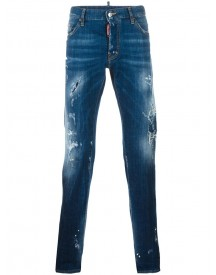 Dsquared2 - Mac Daddy Torn Effect Jeans - Men - Cotton/calf Leather/polyester/spandex/elastane - 50 afbeelding