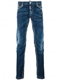 Dsquared2 - Slim Creased Detail Jeans - Men - Cotton/calf Leather/polyester/spandex/elastane - 52 afbeelding