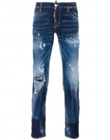 Dsquared2 - Slim Distressed Stonewashed Jeans - Men - Cotton/calf Leather/polyester/spandex/elastane - 54 afbeelding