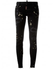 Dsquared2 - Super Skinny Distressed Jeans - Women - Cotton/calf Leather/polyester/spandex/elastane - 38 afbeelding