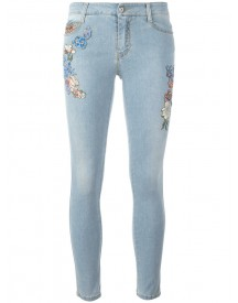 Ermanno Scervino - Floral Patch Skinny Jeans - Women - Cotton/polyester - 42 afbeelding