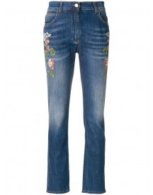 Etro - Embroidered Flower Jeans - Women - Cotton/polyester/spandex/elastane - 27 afbeelding