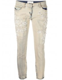 Faith Connexion - Beaded Embroidery Cropped Jeans - Women - Cotton/spandex/elastane - 26 afbeelding