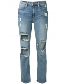 Frame Denim - Cropped Distressed Jeans - Women - Cotton/spandex/elastane/polyester - 26 afbeelding