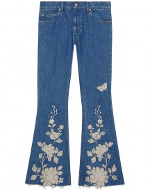Gucci - Embroidered Denim Flare Pant - Women - Cotton/spandex/elastane - 30 afbeelding