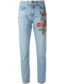 Gucci - Embroidered Flower Jeans - Women - Cotton - 29 afbeelding