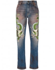 Gucci - Jeans With Dragons - Women - Silk/cotton/calf Leather/rayon - 26 afbeelding