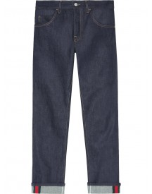 Gucci - Tapered Denim Pants With Web - Men - Cotton/spandex/elastane - 35 afbeelding