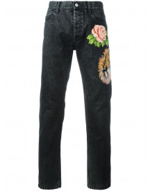 Gucci - Tiger And Floral Appliqué Tapered Jeans - Men - Cotton - 34 afbeelding