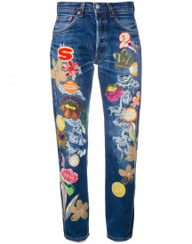 History Repeats - Floral Patch Cropped Jeans - Women - Cotton - S afbeelding