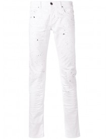 Les Hommes - Paint Splatter Slim-fit Jeans - Men - Cotton/spandex/elastane - 30 afbeelding