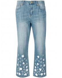 Michael Kors - Flower Embellished Cropped Jeans - Women - Cotton/aluminium/plastic/glass - 8 afbeelding
