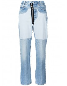 Off-white - Contrast Panel Boyfriend Jeans - Women - Cotton - 28 afbeelding