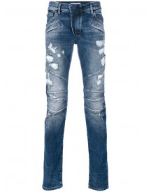 Pierre Balmain - Distressed Biker Jeans - Men - Cotton/spandex/elastane - 30 afbeelding
