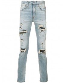 R13 - Distressed Slim-fit Jeans - Men - Cotton/leather/spandex/elastane - 34 afbeelding