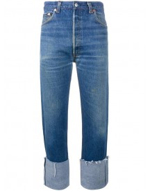 Re/done - High Rise Straight Leg Blue Jeans With Turned Up Cuffs - Women - Cotton - 31 afbeelding