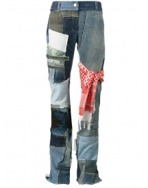 Ronald Van Der Kemp - Patchwork Denim Mid Rise Flared Jeans - Women - Cotton/leather - 40 afbeelding
