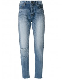 Saint Laurent - Distressed Tapered Fit Jeans - Women - Cotton - 30 afbeelding