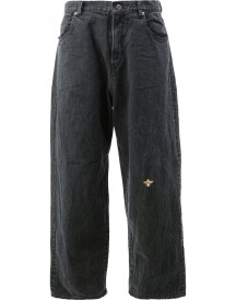 Undercover - Bee Embroidered Flared Jeans - Women - Cotton/polyester - 2 afbeelding